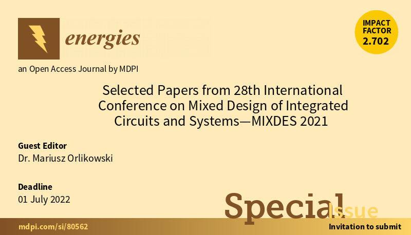 Selected Papers from 27th International Conference on Mixed Design of Integrated Circuits and Systems - MIXDES 2021